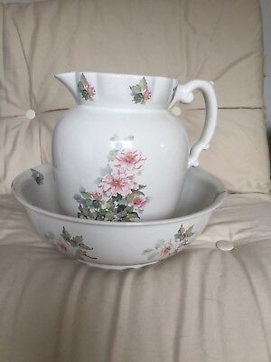 Huge Gorgeous Vintage Jug And Wash Bowl With Rosebud Design Shabby Chic