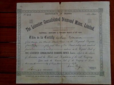 the leicester consolidated diamond mines : 50 actions de 1£ /Londres 1896