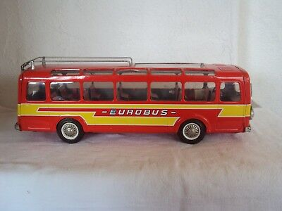 JOUSTRA Blech EUROBUS Bus Ancien Tole TIN TOY Coach  Made in France 39 cm