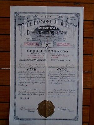 Canada-Ontario / The Diamond Jubile Mineral / Titre 5 Actions 1$ / 1898