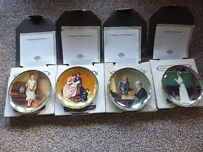 Vintage Norman Rockwell American Dream Series Plates Nib 1 Thru 4 Originalpapers