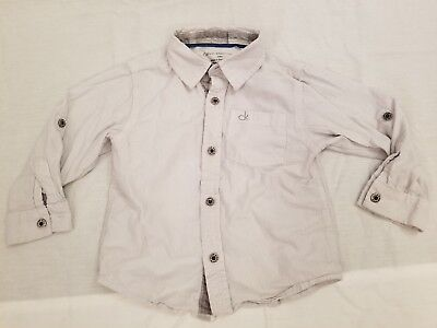 Calvin Klein Jeans Toddler Gray Lined Button Up Shirt Size 24 Months