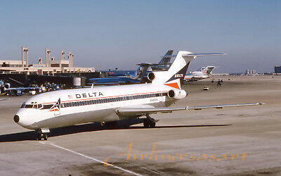 """Delta Airlines Boeing 727-232 N546DA at DFW in February 1987 8""""x12"""" Color Print"""