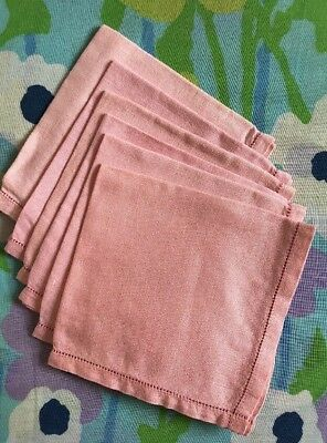 "Vtg Pink Linen Fabric Napkins Set Of 6 Luncheon Petite 11"" Fagoting Napkin Set"