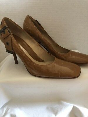 d339e536be09 VIA SPIGA Women s SZ 8.5M Tan Patent Leather Heels Pumps Shoes ...