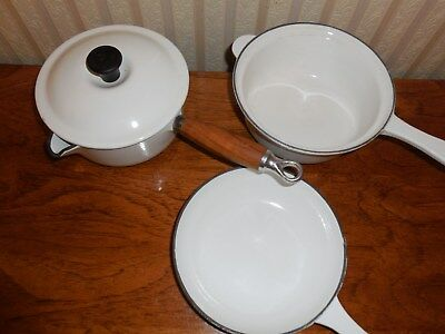 Set Of 3 Vintage Teck White Enamel Cast Iron