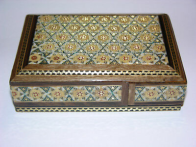 Persian Inlaid Jewelry and Playing Card Box Wooden Handcraft Traditional Art
