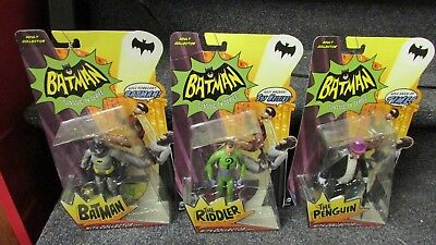 Lot Of 3 Batman Classic TV Series Figures With Collector Card Mattel 2013 NIB