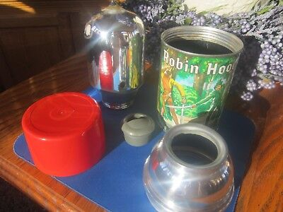 Vintage 1956 Aladdin Metal ROBIN HOOD LUNCHBOX THERMOS Very nice condition!