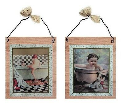 💗 Vintage Kids In Tub Pictures Bathroom Wall Hanging Home Decor Bath Plaques