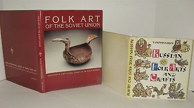 2 Antique Reference Books RUSSIAN FOLK ART