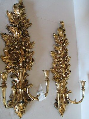 Set of 2 Large 26 in Home Interiors Syroco Candle Holder Wall Sconce Never Used