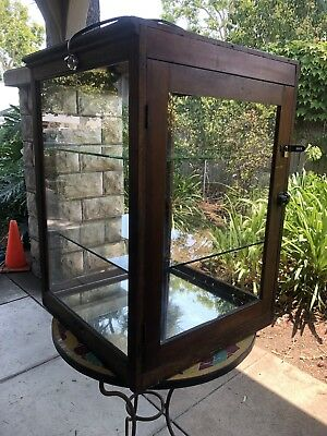 Antique Jewelry Doll Toy Lighted Glass Display Cabinet  Case