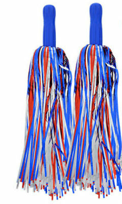 Red White and Blue Patriotic Pom-Poms Cheerleader USA Costume Accessory Pair
