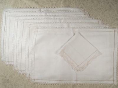 6 Vintage White Linen Place Mats Trimmed W/tiny Italian Filet Lace, 1 Napkin