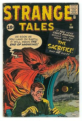 Strange Tales #91 GD+ (2.5) Early Stan Lee Jack Kirby! Silver Age Marvel Comic!