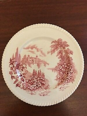 "Vintage Johnson Brothers ""Castle on the Lake"" Dinner Plate Red  England"