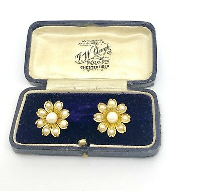 A Very Nice Pair of Antique Victorian 15ct Yellow Gold Split Pearl Earrings