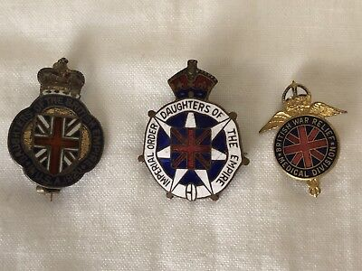 DAUGHTERS OF THE BRITISH EMPIRE IN U. S. A. 1920 ENAMELED Sterling PIN Lot of 3
