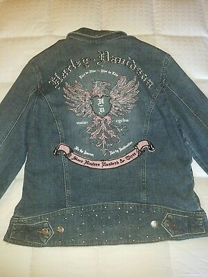 Harley davidson womens denim jacket with studs and crystals LARGE