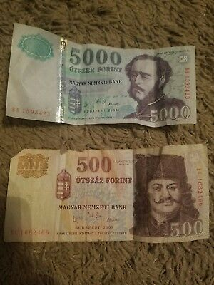 5500 5,500 5.000 + 500 forint Hungary Hungarian money