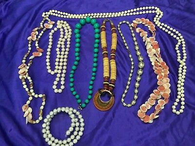 Mix Lot Modern Vintage Costume Jewelry Necklaces Bracelet-Shell-Agate-Wood-Pearl
