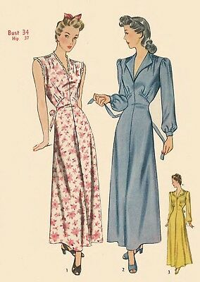 """Vintage 1940's Sewing Pattern Dressing Robe, Nightgown Dress Bust 34"""" WWII WW2"""