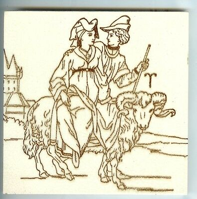 EXTRA RARE!! Antique Victorian English Zodiac Aries Tile Stacy Marks Mintons