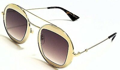 07f7fc7e364e0 New Authentic GUCCI GG0105S 002 Gold Brown Gradient Lens 47mm Sunglasses
