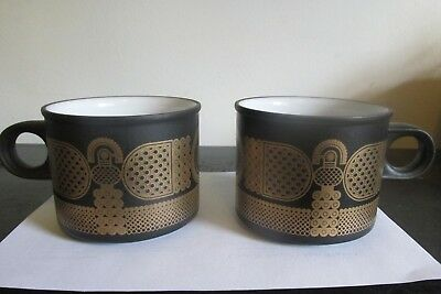 2 Midas Hornsea England Black & 22 Carat  Gold Oven to Tableware Mugs Cup 1981