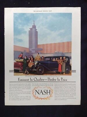 Vintage Automobile Magazine Ad ~ Nash ~ 1933 Chicago World Fair Hall of Science