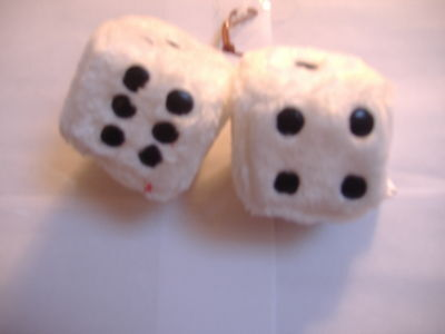 "1 Plush Fuzzy Dice White  3"" Inches Hang On  Your Car Mirror"