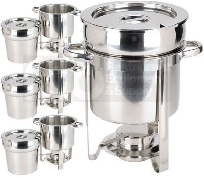 4 Deluxe Round 7 qt Soup Warmer Chafer Marmite Stainless Steel Chafing Dish Set