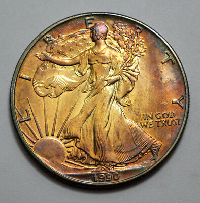 1990 $1 UNC MS  American Silver Eagle Superb Stunning Natural Toned Bullion Coin