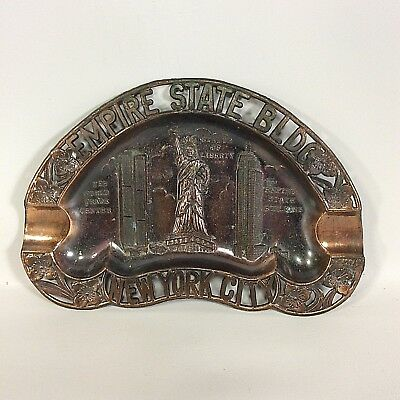 Empire State NYC World Trade Center Statue Liberty Metal Bronze Tone Ashtray VTG