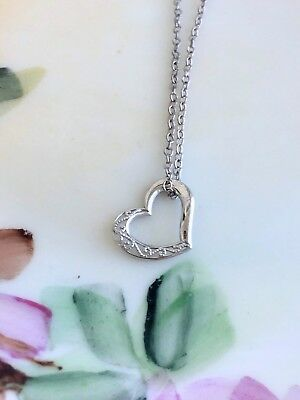 Vintage 10K White Gold Floating Heart Pendant With Sterling Chain