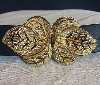 Vintage Mimi di N Belt Buckle Gold Tone Leaf Design 2pcs Signed 1976