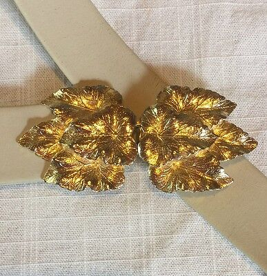 Vintage Mimi di N Belt Buckle Gold Tone Leaf Design 2pcs Signed 1981