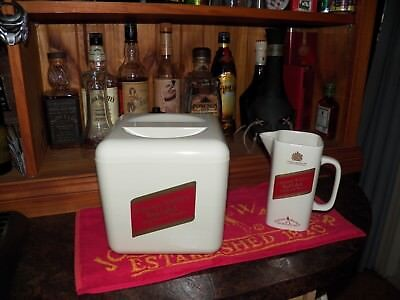 Rare Johnnie Walker Set - Ice Bucket, Water Jug and Bar Towel 1970's