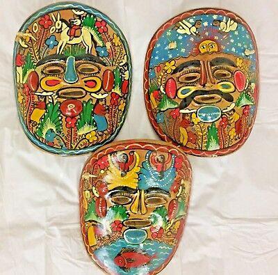 3 Vintage Terracotta Hand Painted Colourful Clay Masks