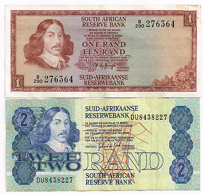 LOT OF TWO 1973-81 SOUTH AFRICA ONE & TWO RAND NOTES - p115a,118c