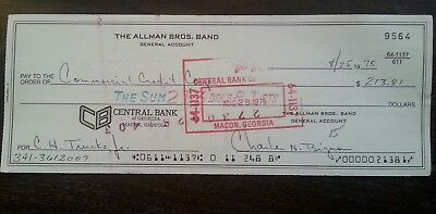 Rare Allman Brothers 1975 General Account Check Loan Payment For Butch Trucks