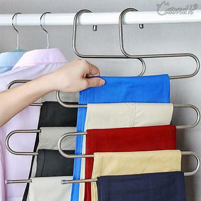 Clothes Pants Trouser Hanger Multi 5 Layer Storage Rack Home Closet Space Saver
