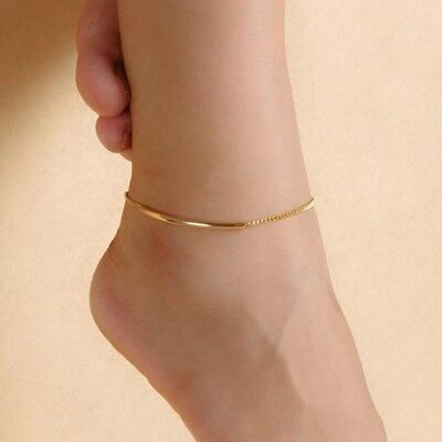 Nice Glossy Bracelet Anklet Trendy Curved Gold Color Simple Bohemian Smile Charm