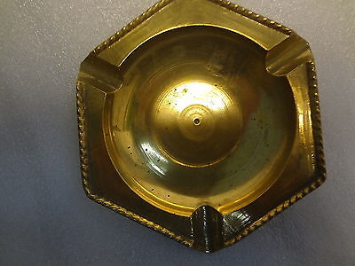 """Vintage Collectible Solid Brass Hexagon Shape Ashtray Rope Edge Design 5"""" Across"""