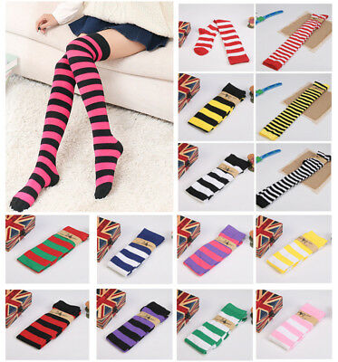 Women Lady Girl Plus Size Striped Thigh High Socks Sheer Over Knee Long stocking