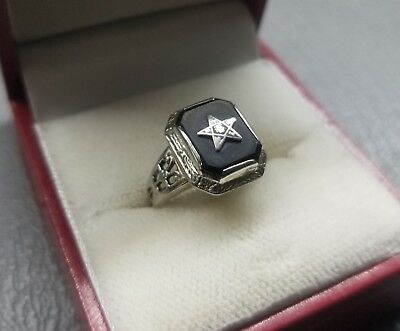 Estate Art Deco 14k White Gold Onyx Womens Star Masonic Ring Antique Vtg Pinky