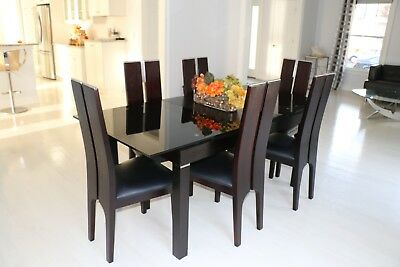 Custom Designer Modern Dining Room Table Wood Glass Leather Chairs - MSRP $5,699