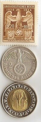 """-*WW2 - *german  SILVER  coin / stamp  + *egyp. """"king  TUT"""" coin"""
