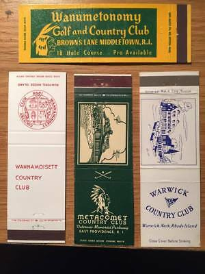 4 Vintage Matchbook Covers - Rhode Island Golf & Country Clubs 1950s?- free ship